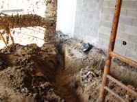 travaux de l'ancienne grange, terrassement des réseaux